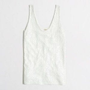 J. Crew Sleeveless Cream Sequin V-Neck Tank Top, M